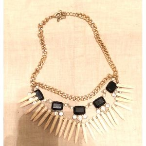 Black Stone and Horn Necklace